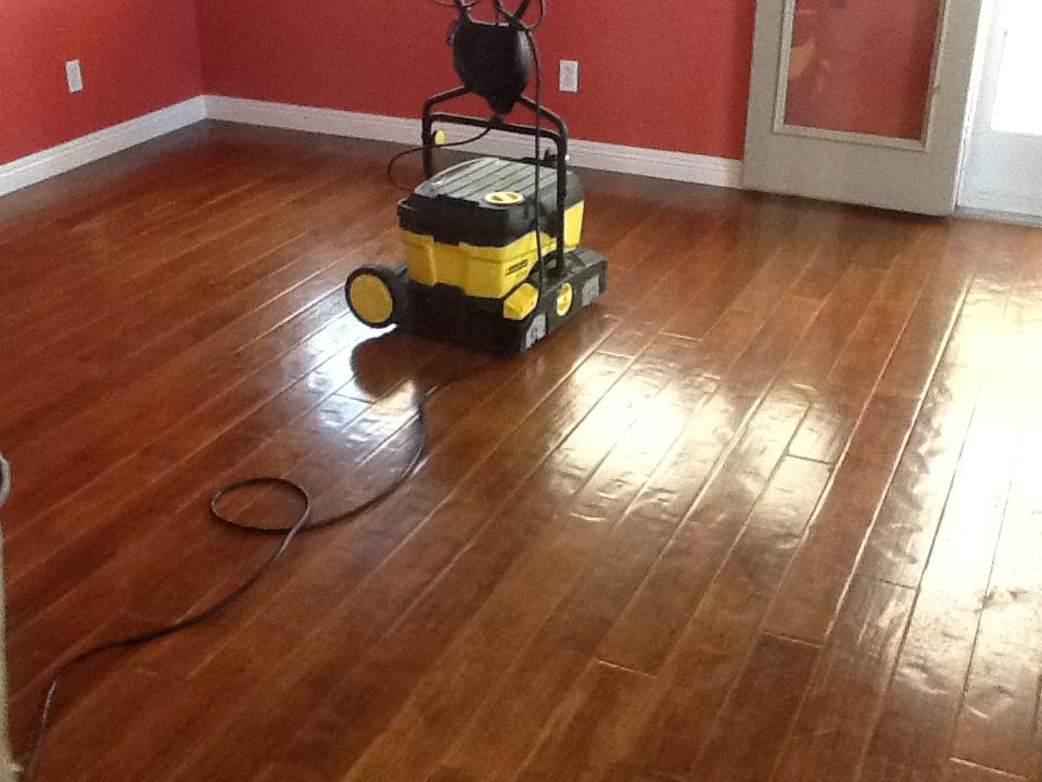 scrubbing hardwood floors